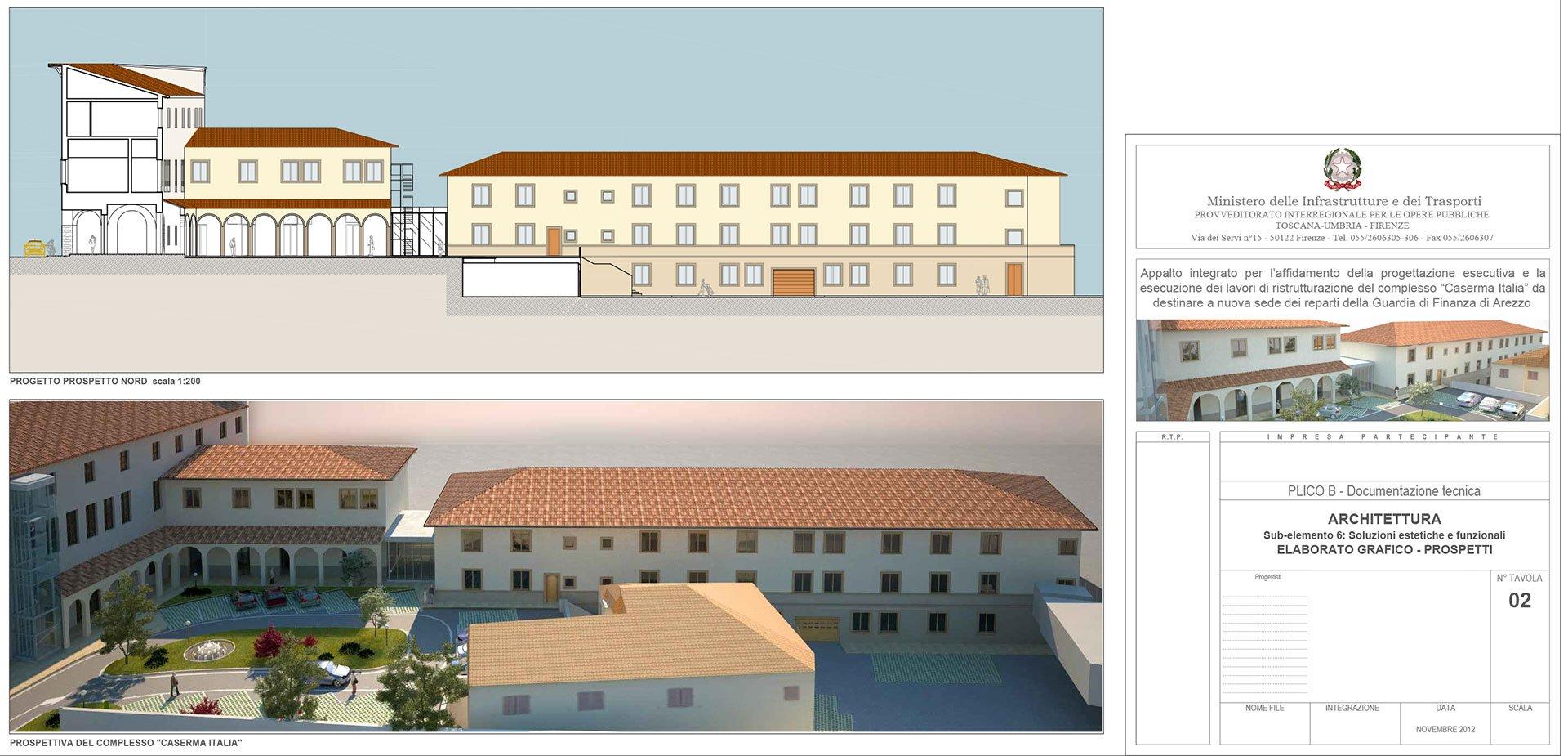 Lavori di ristrutturazione del complesso caserma italia for Costo della costruzione dell edificio