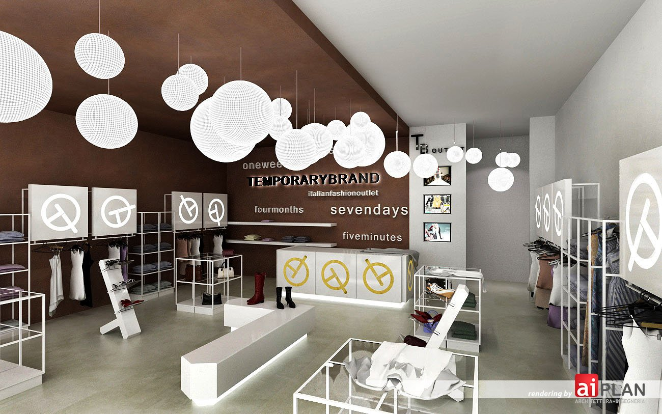 Rendering interni di attivit commerciale aiplan for Progettazione di negozi
