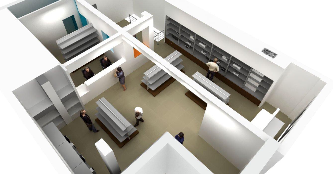Progetto negozio informatica computer experience aiplan for Piccoli piani di progettazione di edifici commerciali
