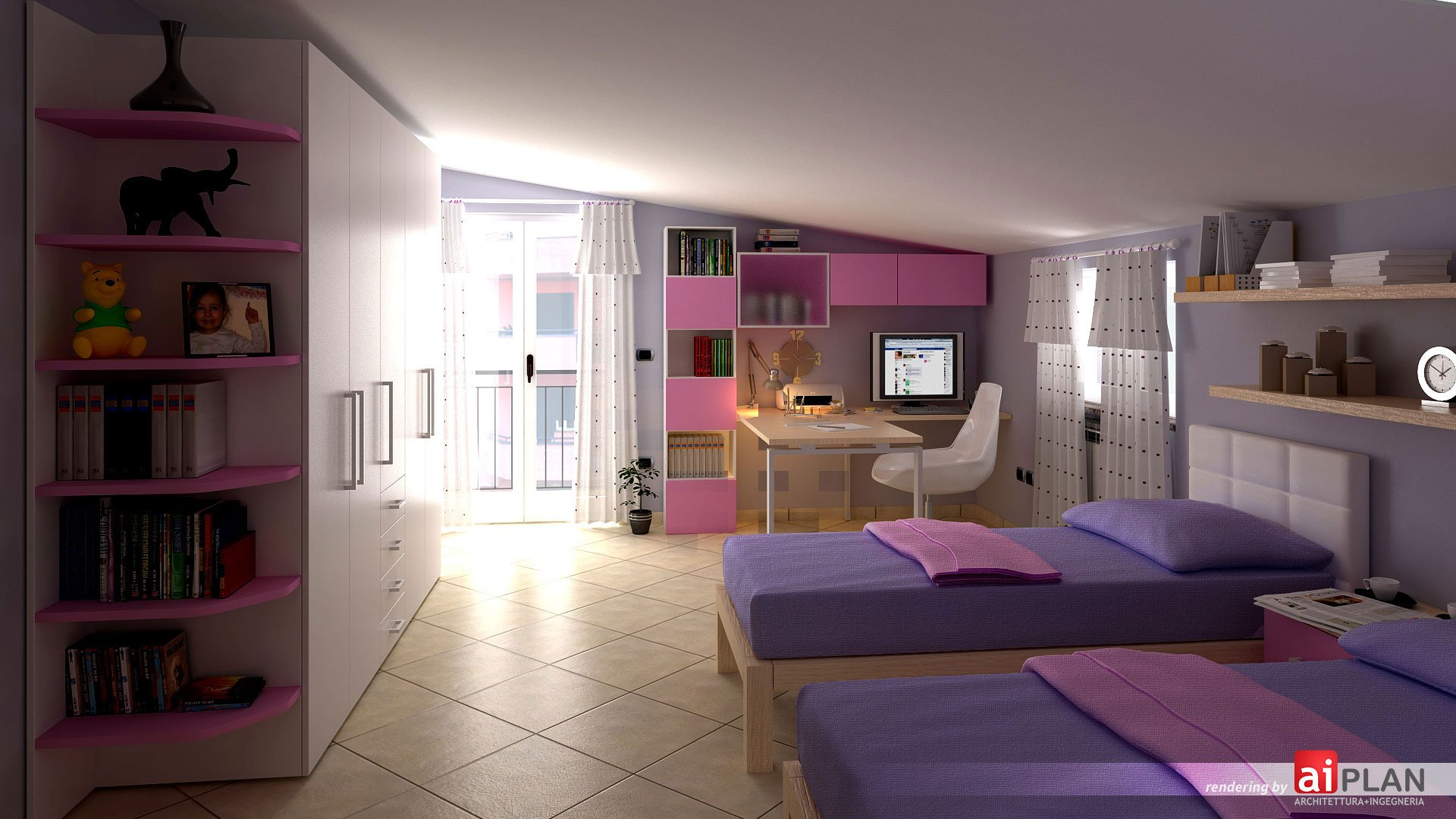 Progetto di arredo di una cameretta per bambini for 6 piani di casa colonica di 6 camere da letto