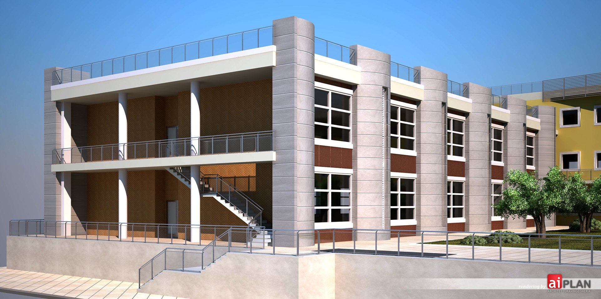 Rendering esterni di edifici e residenze aiplan for Progettazione di edifici residenziali
