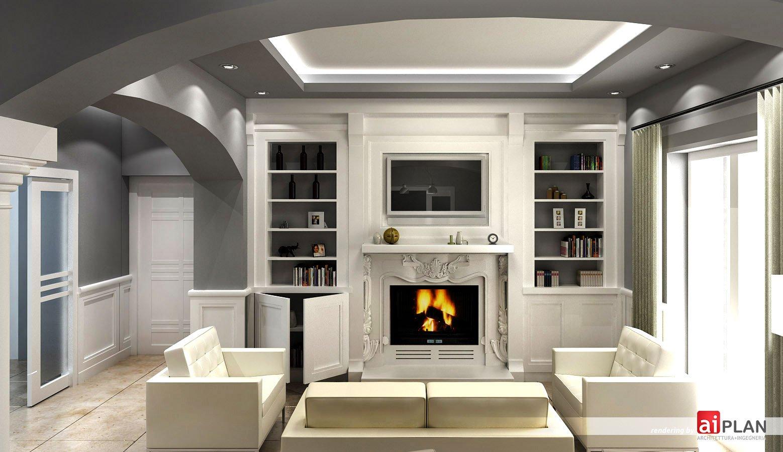 Rendering interni di residenze aiplan architettura e ingegneria - Parete attrezzata moderna con camino ...